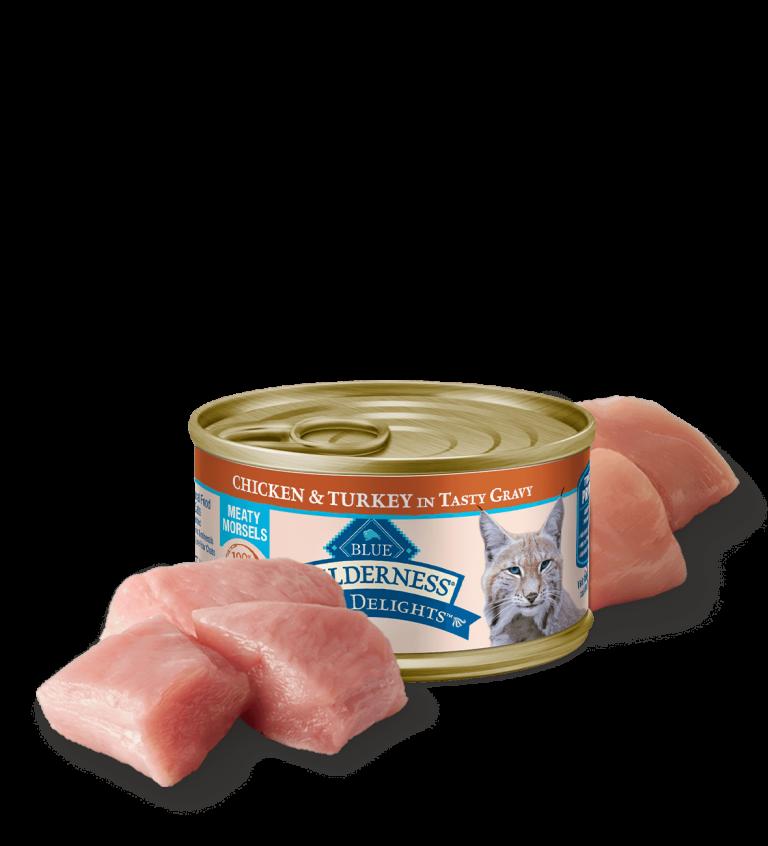 Blue Buffalo Wilderness Wild Delights Meaty Morsels Chicken & Turkey In Tasty Gravy Wet Cat Food