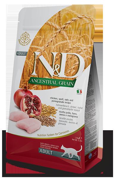 Farmina N&D Ancestral Grain Chicken, Spelt, Oats & Pomegranate Recipe Adult Dry Cat Food