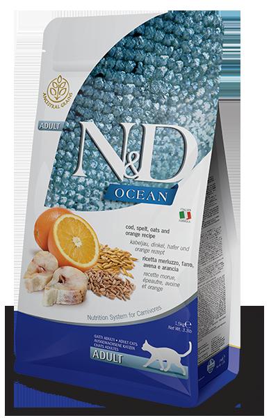 Farmina N&D Ocean Cod, Spelt, Oats & Orange Recipe Adult Dry Cat Food
