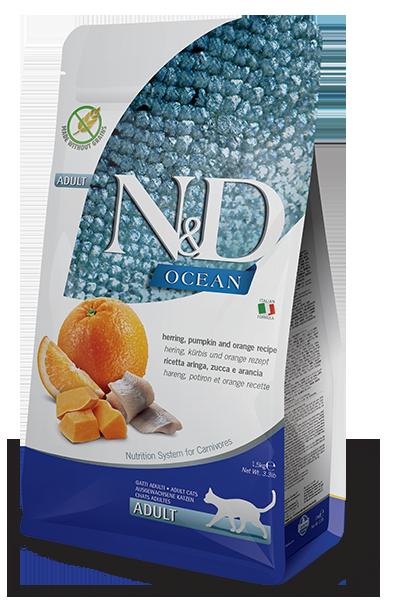 Farmina N&D Ocean Herring, Pumpkin & Orange Recipe Adult Dry Cat Food