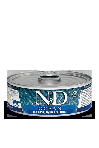 Farmina N&D Ocean Sea Bass, Squid & Shrimps Wet Cat Food