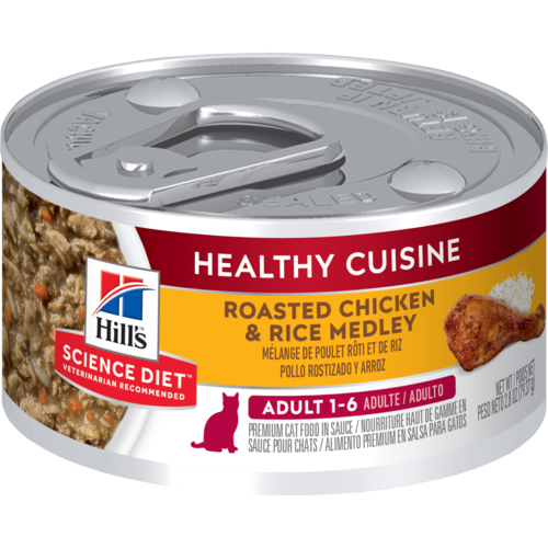 Hill's Pet Science Diet Adult 1-6 Healthy Cuisine Roasted Chicken & Rice Medley Wet Cat Food