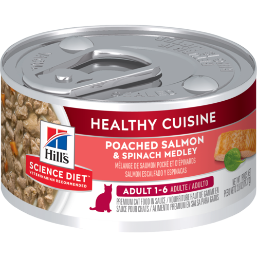 Hill's Pet Science Diet Adult 1-6 Healthy Cuisine Poached Salmon & Spinach Medley Wet Cat Food