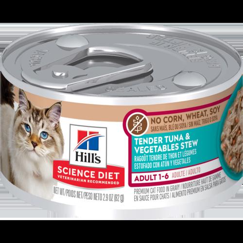 Hill's Pet Science Diet Adult 1-6 Tender Tuna & Vegetables Stew Wet Cat Food
