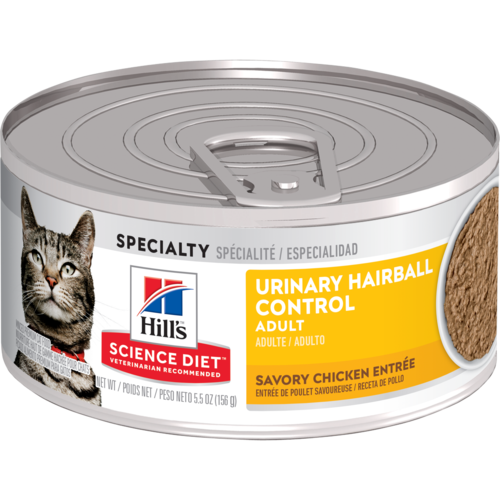 Hill's Pet Science Diet Adult Urinary Hairball Control Savory Chicken Entrée Wet Cat Food