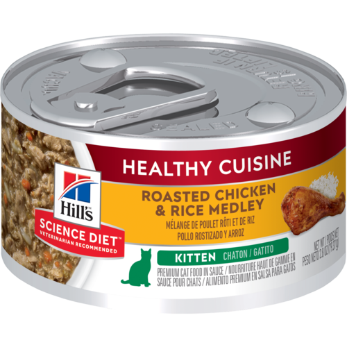 Hill's Pet Science Diet Healthy Cuisine Roasted Chicken & Rice Medley Wet Kitten Food